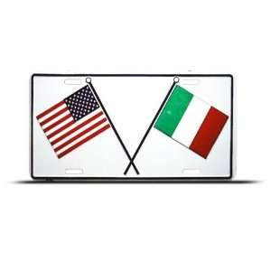 Italian American Flag Metal License Plate Wall Sign