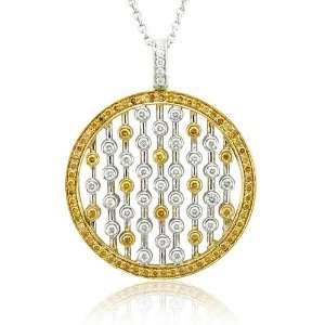 18k Two Tone Gold Circle White and Champagne Yellow Diamond Pendant