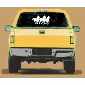 3 RUNNING HORSES Giant WHITE 12 Vinyl STICKER / DECAL