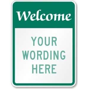 Welcome (green reverse) (large) Engineer Grade Sign, 24 x