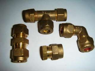 8mm or 10mm Brass Compression Fittings Straight Reducer Elbow Tee