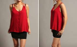 MOGAN Chic Button Down CUT OUT Camisole TANK BLOUSE A Line Woven