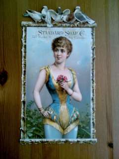 1880s Die Cut Sign of Risque Woman Standard Soap Co San Francisco