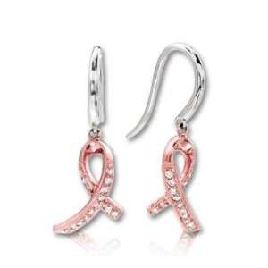 14k Two Tone Gold Diamond Breast Cancer Awareness Earrings Jewelry