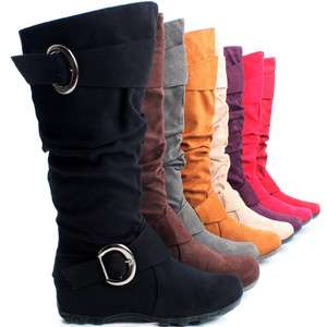 Tall Buckle Faux Suede Ladies Cowboy Western Womens Knee High Boots