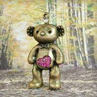 Bear Animal Pendants vintage Antique Brass bronze Rhinestone