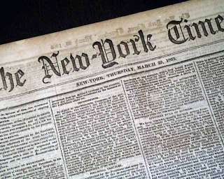 CONFEDERATES Losing END Coming 1865 Civil War Newspaper