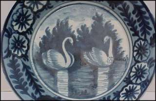 1800 ENGLISH Leeds Pearlware Blue White SWAN BOWL