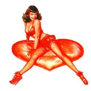 Bettie Page Retro Pin up Girl Sticker by Olivia ~ Red Heart Sticker