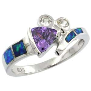 Sterling Silver, Synthetic Opal Inlay Ring, w/ Trillion Cut Amethyst