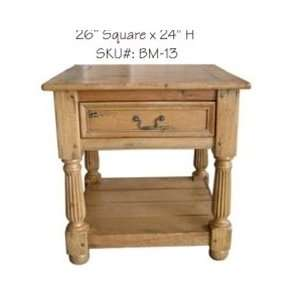 Solid Wood Antique Flute Leg Side table