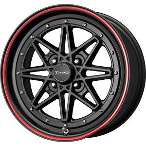 New 15X7 4 100 Drag Dr20 Black Red Stripe Wheel/Rim
