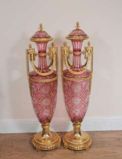 Pair French XL Amphora Glass Urns Vases Ormolu