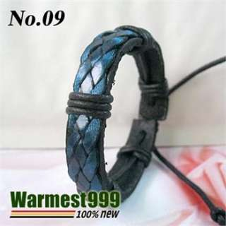 Mens Womens Fashion Cool Leather Hemp Bracelet Wristband Cuff Va01 12