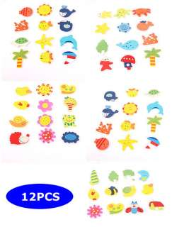 12 PCS Cartoon Funny Baby Toy Wooden Fridge Magnet Refrigerator