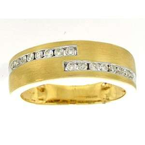 14K YELLOW GOLD ROUND DIAMOND WEDDING/FASHION BAND .5CT