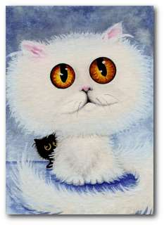 Curious Cats Black White Big Eyed Persian Pets   BiHrLe ArT LE Print