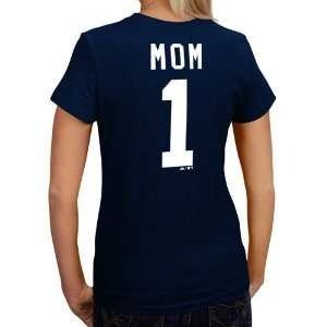 New York Yankees Womens Navy #1 MOM Name & Number T Shirt