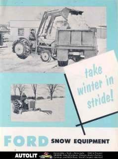 1957 Ford Industrial Loader Tractor Brochure Snow Plow