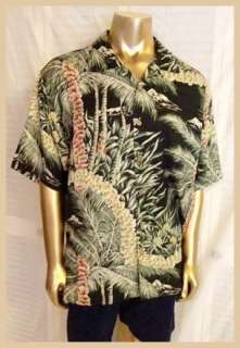 Tommy Bahama Hawaiian front button closure with wooden buttons two