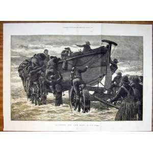 Launching Life Boat Launch Sea Fine Art 1872 Antique