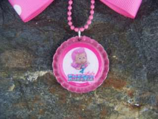BUBBLE GUPPIES MOLLY PINK POLKA DOTS GIRLS BOTTLECAP HAIRBOW