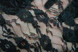 SHEER black mesh floral stretch LACE fabric 60 BTY B