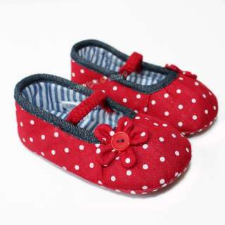 Cute Toddler baby girls Princess red Rose flower Dance shoes Size:US