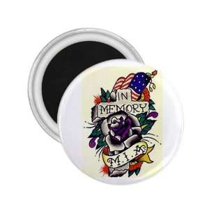 Tattoo Cross in Memory Art Fridge Souvenir Magnet 2.25