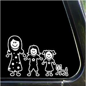 Two Girls, Cat Stick Family People Decals Stickers Car