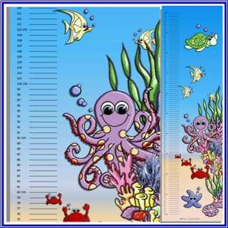 Child Growth Height Chart under water sea animals