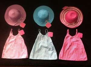 BABY GIRL SUN DRESS PINK PURPLE BLUE MATCHING STRAW HATS 18 24 months