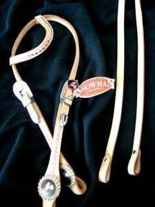 Western Horse Show Headstall Reins One Ear Pink Crystal Natural Barrel