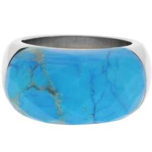 Jewelry Womens Turquoise Howlite 316L Stainless Steel Ring Jewelry