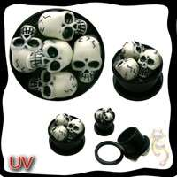 3D Skull Plugs Tube Ear Gauge Body Jewelry Tunnel Ear UV Gothic Screw