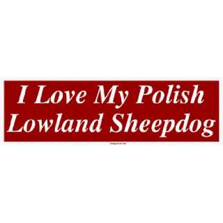 Love My Polish Lowland Sheepdog Large Bumper Sticker Automotive