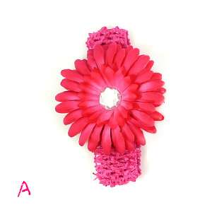 Crystal Daisy Flower Clip Girls Crochet Headband Dqu
