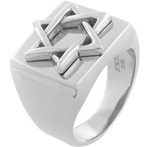 Inox Jewelry Mens Star of David 316L Stainless Steel Ring Jewelry