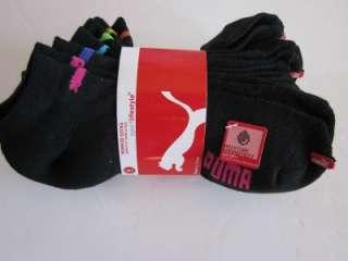 New 6 pairs Puma Black womens running socks no show 9 11