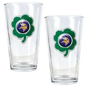 NFL Minnesota Vikings St. Patricks Day 2pc Pint Glass Set