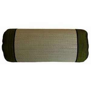 /Silk Decorative Bolster Pillow   Large Olive Green
