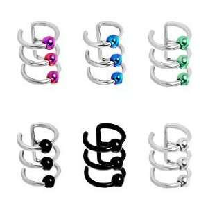 316L Surgical Steel Fake Cartilage Three Rings with Steel