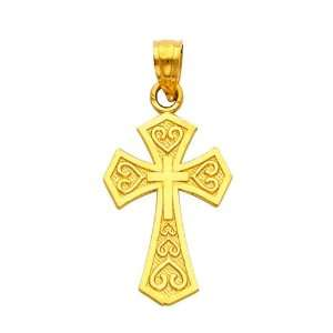 14K Yellow Gold Religious Cross Charm Pendant The World