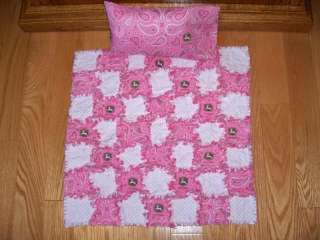 Baby Doll Rag Quilt & Pillow Set John Deere Fabric   American Girl or