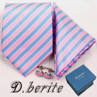 MEN NECK TIE NECKTIES HANKY CUFFLINK GIFT BOX SET TZ162