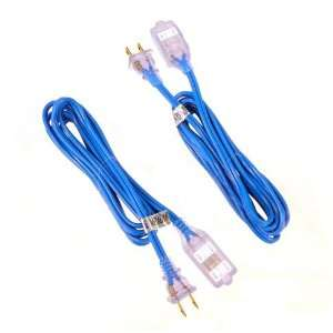 Glo 9 Ft UL Extension Cord   3 Outlet   Lighted Plugs   Electric Blue