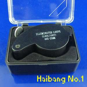 New LED 40X25mm Eye Jeweller Magnifying Glass Magnifier Loupe