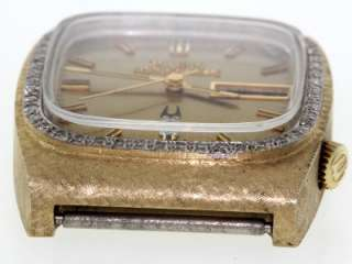 Bulova Accuquartz Day Date Solid 14K Yellow Gold Diamond Men Dial