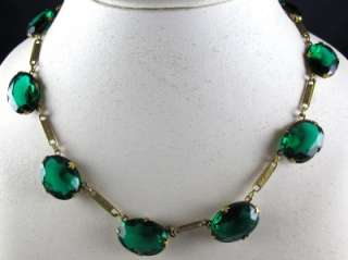 Art Deco Czech Emerald Green Glass Open Back Necklace Choker