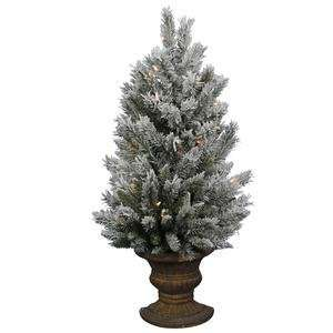 Flocked Sugar Pine 36 Artificial Christmas Wall Tree with Clear